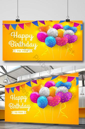 fundo brilhante de balões de feliz aniversário Fundos Modelo AI