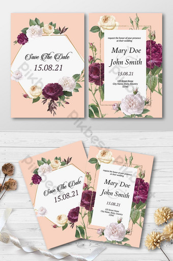 Belle carte d'invitation de mariage design floral élégant Modèle AI