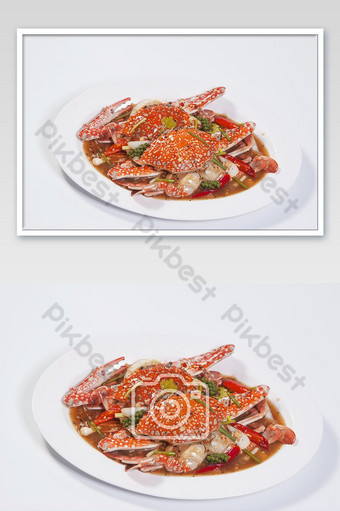 Stir fried crab with black pepper on white background. Photo Template JPG