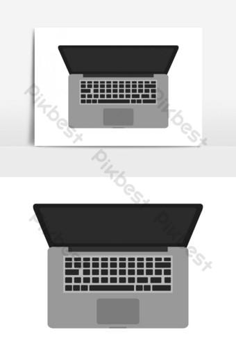 elemento gráfico de vector de escala de grises de icono de laptop Elementos graficos Modelo EPS
