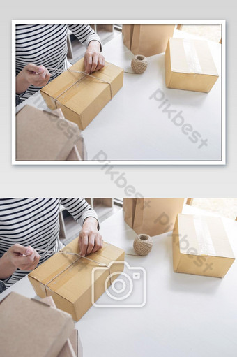 Young seller woman preparing package to be sent Mail transportation, service network Photo Template JPG