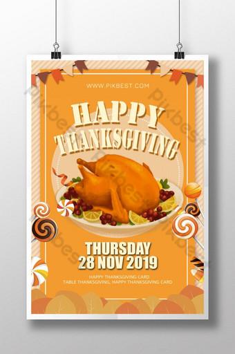 Affiche simple de dinde jaune de Thanksgiving Modèle PSD