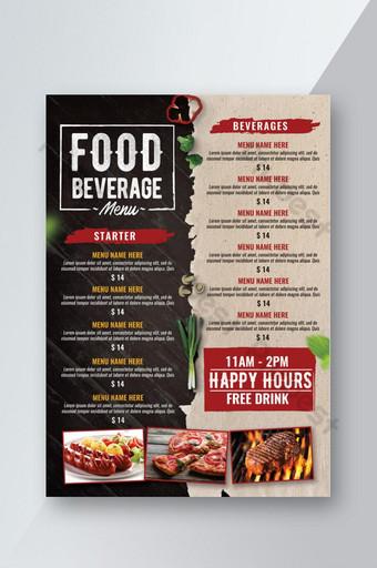 Menu de boissons alimentaires avec flyer de fond papier et bois Modèle PSD