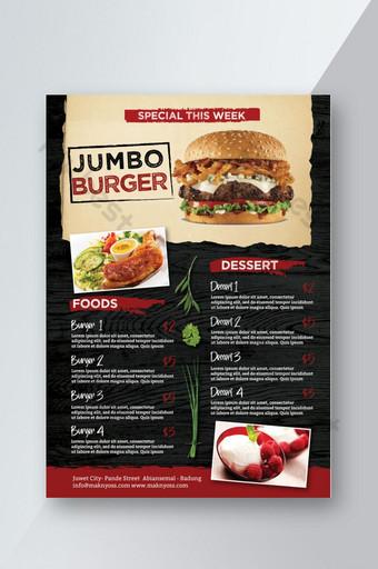 Menu Burger avec flyer papier et fond sombre Modèle PSD