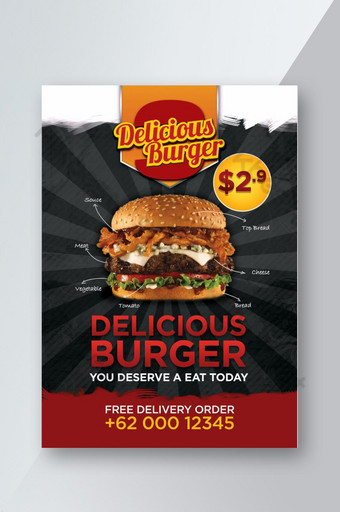 folleto de promoción de deliciosas hamburguesas Modelo PSD