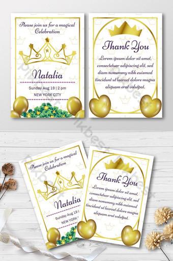Invitation de fête d'anniversaire élégante avec couronne dorée Modèle AI