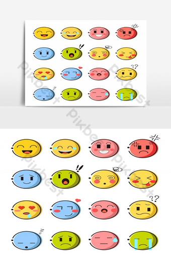 set elemen grafis vektor emoticon kartun lucu emoji emosi terisolasi Elemen Grafis Templat EPS