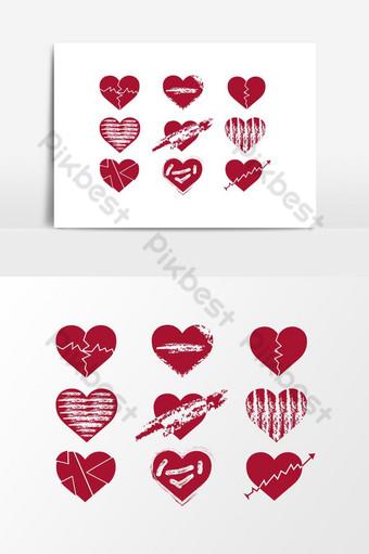 photoshop psd coração partido amor forma modelo design elemento gráfico vetorial Elementos gráficos Modelo PSD