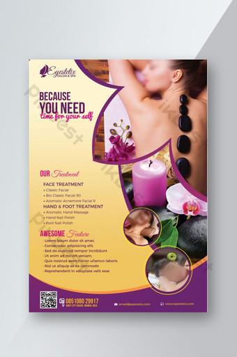folleto de tratamiento de promoción de spa y salón Modelo PSD