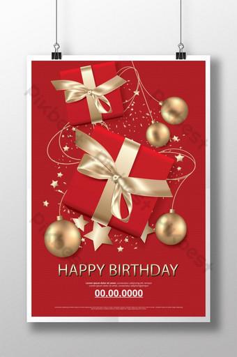 Affiche de célébration de carte de joyeux anniversaire Modèle AI