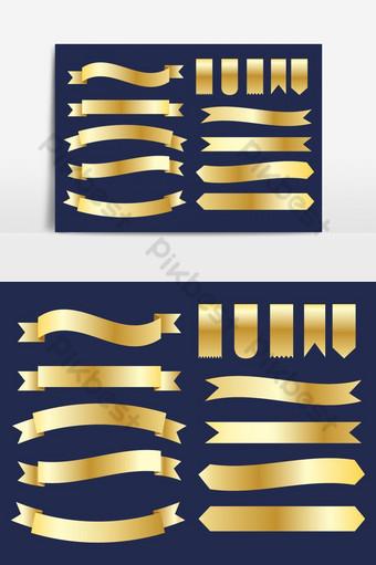 colección de cintas doradas diseño de banner vector set elemento gráfico vectorial Elementos graficos Modelo AI