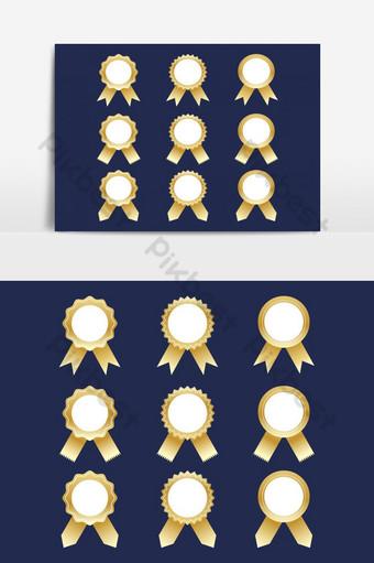 colección de cintas de premio dorado conjunto de vectores elemento gráfico de vector aislado Elementos graficos Modelo AI