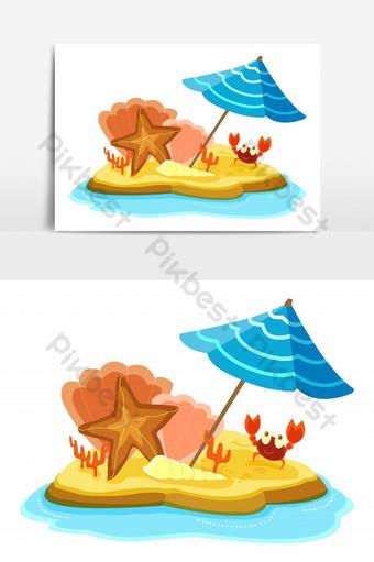 maliit na isla na may starfish beach payong at nakatutuwang alimango Vector Graphic Element Imahe ng PNG Template EPS
