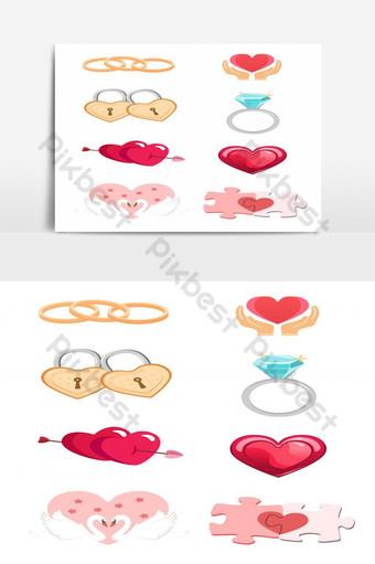 conjunto de símbolo de amor ilustración vectorial anillo corazón en forma de corazón llave en forma de corazón flecha Elementos graficos Modelo EPS