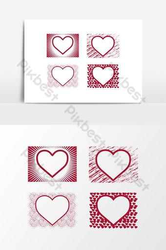 design de modelo de forma de moldura amor coração por photoshop psd Elementos gráficos Modelo PSD
