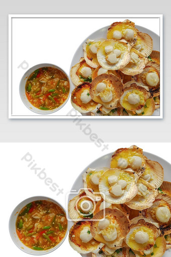 Grilled scallops with butter and seafood sauce. Photo Template JPG
