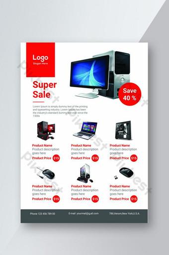 Folleto de producto corporativo para la promoción de la tienda de accesorios informáticos. Modelo PSD