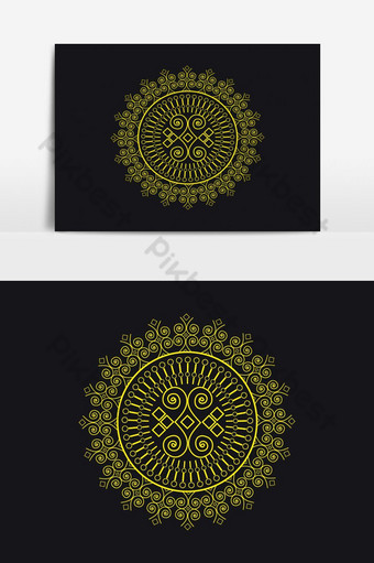 mandala persa floral doodle círculo diseño de patrón abstracto de vector turco en ba negro Elementos graficos Modelo EPS