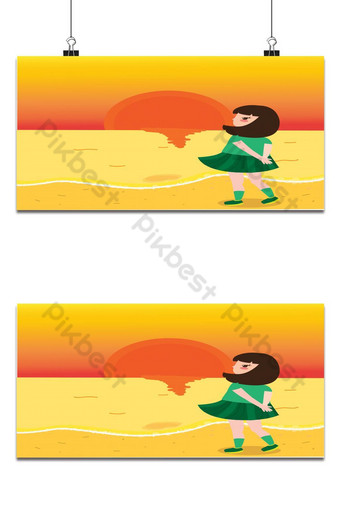 sea and sunset background Backgrounds Template PSD