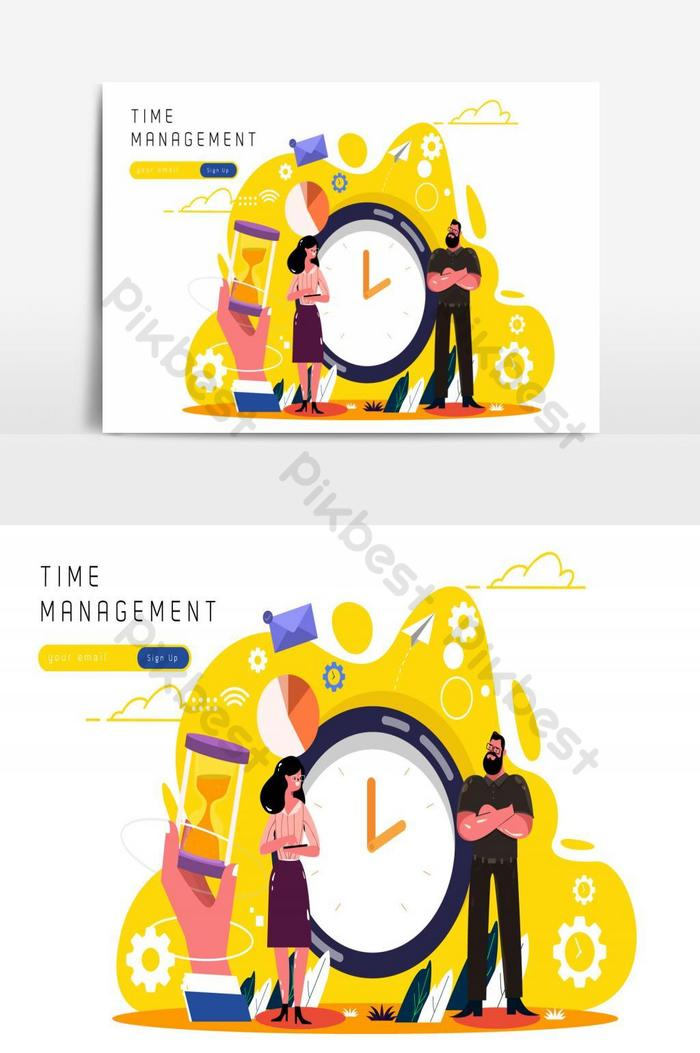 time management working human icons sketch