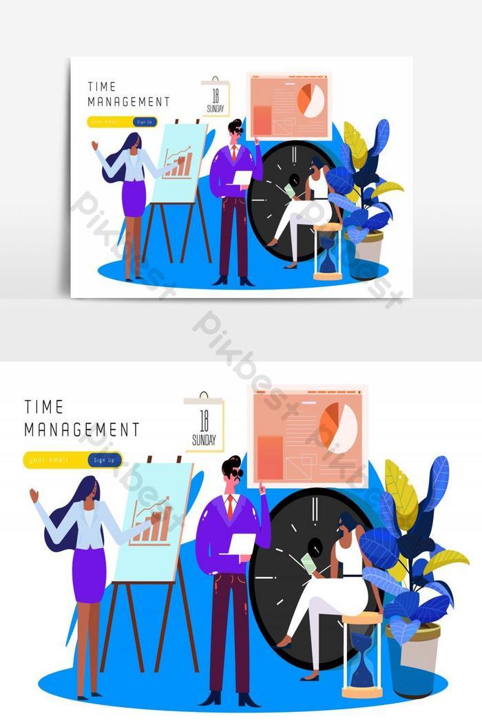 manajemen waktu bekerja sketsa ikon manusia