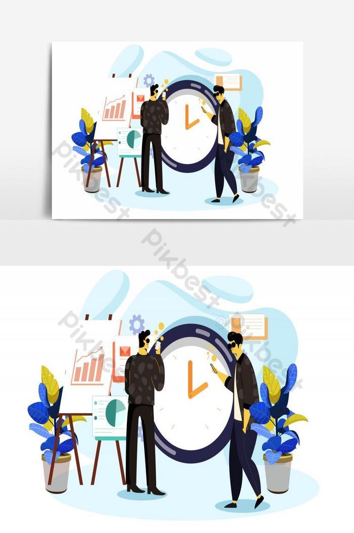 quản lý thời gian làm việc biểu tượng con người phác thảo