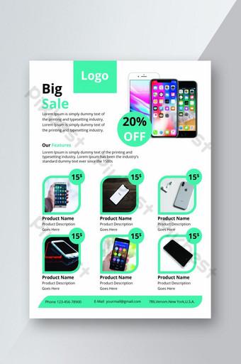 Conception de dépliant de produit pour la promotion de la grande vente de téléphone portable Modèle PSD