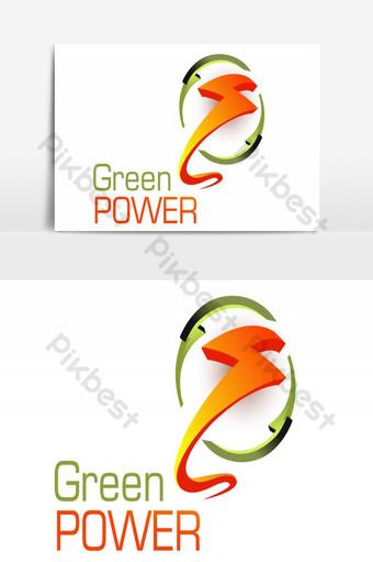 الإبداعية تصميم شعار القوة الخضراء عنصر الرسم ناقلات صور PNG قالب AI