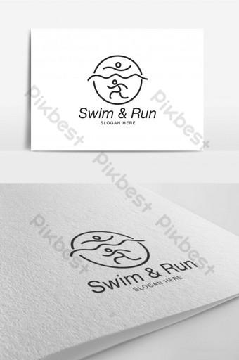 juego gimnasio deporte nadar correr camping logo diseño plantilla inspiración Modelo AI