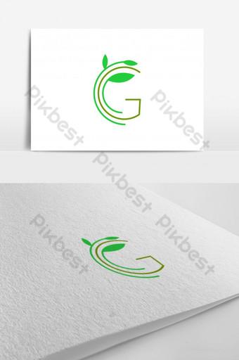 ecología logo letra g con diseño de logo de hoja Modelo AI