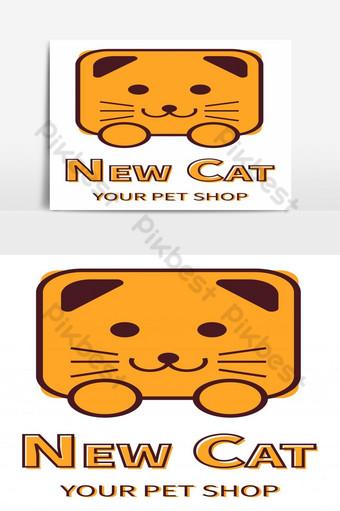 dibujado a mano lindo gato marrón logo vector elemento gráfico Elementos graficos Modelo EPS