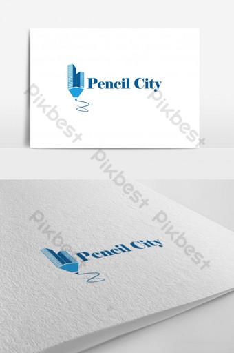 diseño creativo del logotipo del vector de la ciudad del lápiz Modelo AI