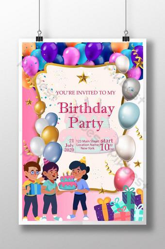 Affiche d'invitation colorée de joyeux anniversaire Modèle AI