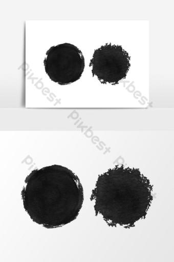 elemento gráfico de vector de diseño de textura redonda negra acuarela Elementos graficos Modelo PSD
