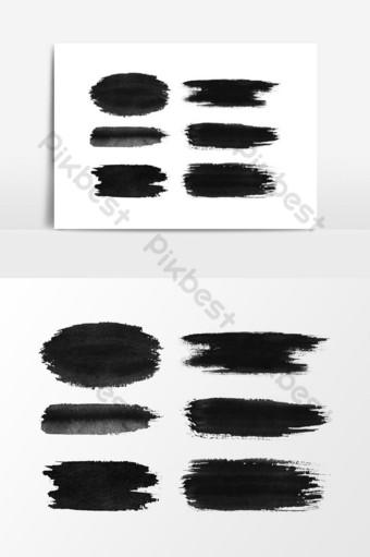 디자인 요소 벡터 그래픽 요소에 대 한 아름 다운 수채화 검은 질감 클립 아트 일러스트 템플릿 PSD