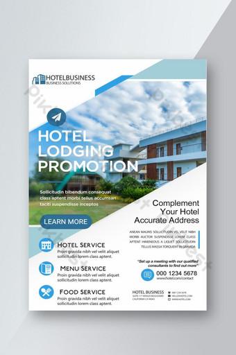 Affiche de flyer d'hébergement hôtelier géométrique frais Modèle PSD