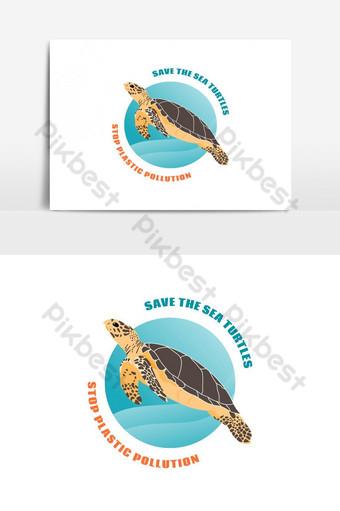 detener el concepto de contaminación plástica salvar el elemento gráfico de vector de tortugas marinas Elementos graficos Modelo EPS
