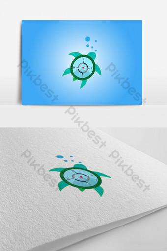 diseño de logotipo de brújula de tortuga con elemento gráfico de vector de icono de brújula Elementos graficos Modelo AI