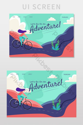 Landing page template let's go on an adventure UI Screen UI Template EPS