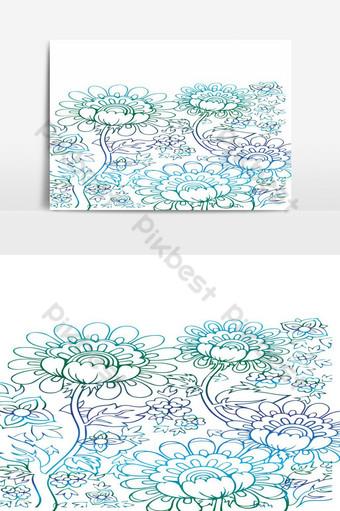 elemento gráfico de vector de diseño de flores hermosas Elementos graficos Modelo AI