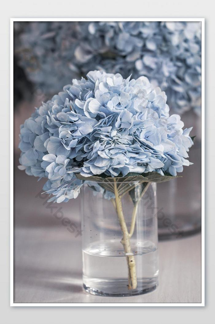 Vase With Beautiful Blue Hydrangea Flowers On Wooden Table Photo Photo Jpg Free Download Pikbest
