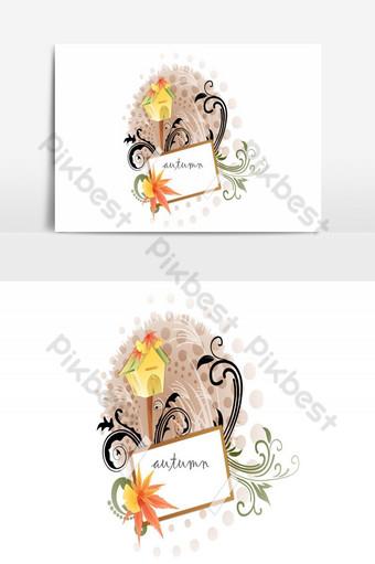 Conseil d'automne avec élément graphique vectoriel de décorations florales Éléments graphiques Modèle AI