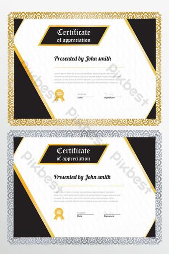 plantilla de diseño de certificado dorado creativo Modelo AI