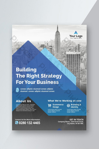 Dépliant d'entreprise bleu transparent et Azure Business Modèle PSD