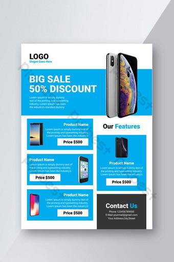Conception simple et propre de flyer pour la publicité de remise de grande vente de magasin mobile Modèle PSD