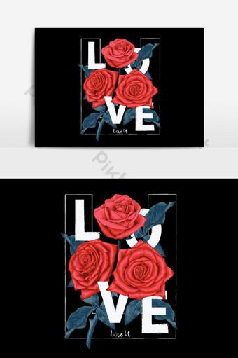Te amo con ramo de flores rosas rojas en elemento gráfico vectorial aislado Elementos graficos Modelo EPS