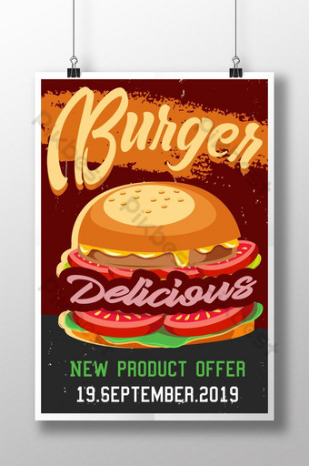 cartel retro de comida rápida de hamburguesa Modelo PSD