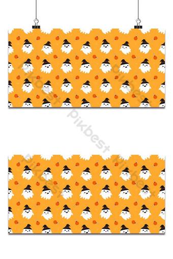 patrón sin costuras lindo fantasma usar sombrero fondo naranja Fondos Modelo EPS