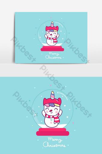 lindo pony unicornio hombre de nieve dibujos animados globo bola copos de nieve pony feliz navidad elemento gráfico vectorial Elementos graficos Modelo AI