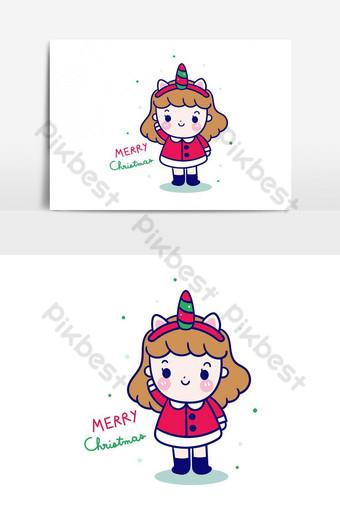 linda chica unicornio navidad personaje vector en invierno disfraces animal vector elemento gráfico Elementos graficos Modelo AI